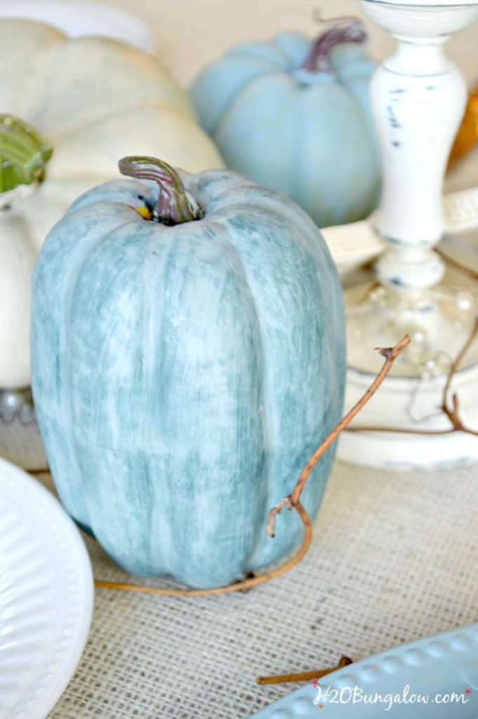 Blue painted pumpkin on my coastal holiday Tablescapes