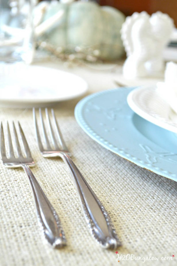 Close up of table setting on coastal holiday Tablescapes