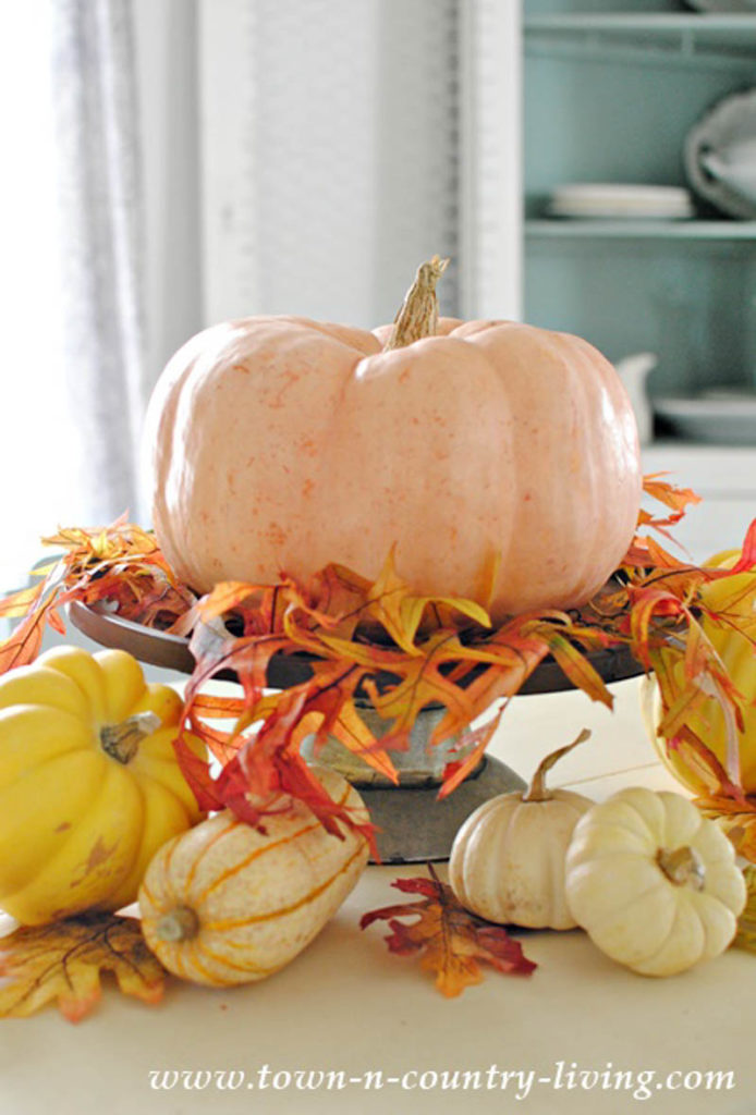 large pumpkin sitting on cake stand with small pumpkins and gourds around the base