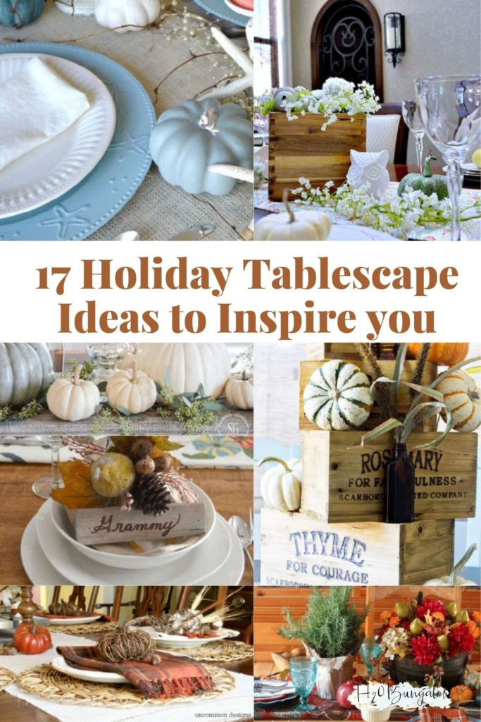 collage of holiday tablescapes with text 12 holiday tablescape ideas to inspire you