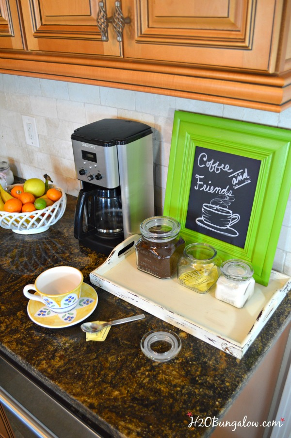 DIY etched glass coffee station canisters are smart space savers in a small kitchen. Serve and store canisters always look great in the pantry or on the counter! Click through to the ultimate organization Tour for this and may other cleaning and organization projects you'll love H2OBungalow.com #organize