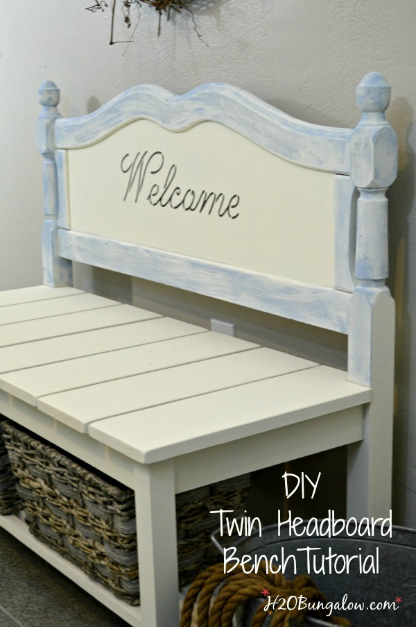 DIY twin headboard bench tutorial with basket storage H2OBungalow.com #powertoolchallengeteam #organizewithpowertools