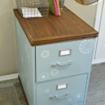 DIY tutorial for upcycled painted and stenciled metal filing with stained wood top and bottom H2OBungalow