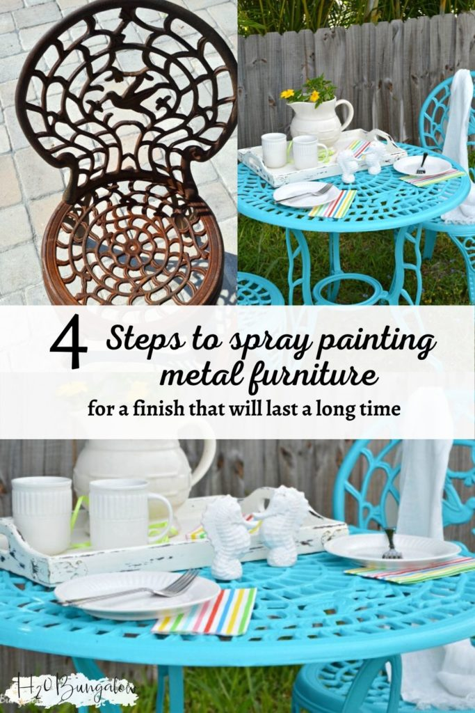 Collage of before and after pictures, how to spray paint metal furniture