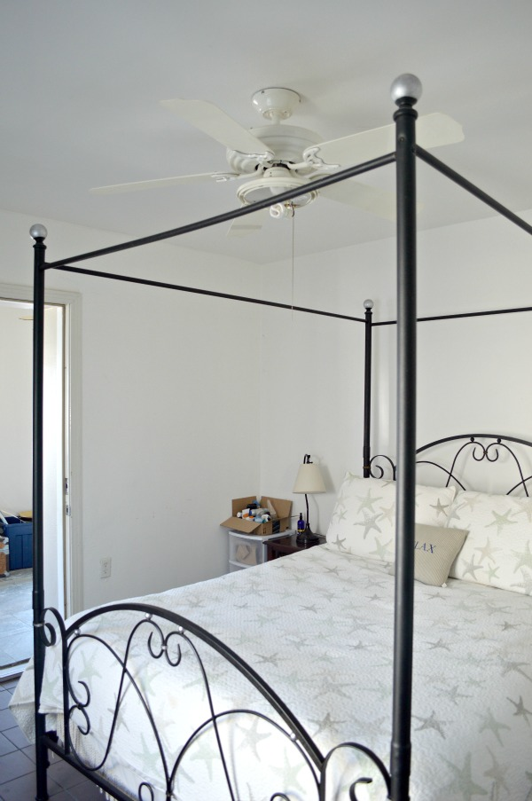The big reveal. Budget DIY coastal master bedroom makeover ideas that are easy to do, easy on the budget and make a big impact. Links to all the projects and tutorials used in this fabulous makeover. Smart ideas for small room decorating too! - H2OBungalow