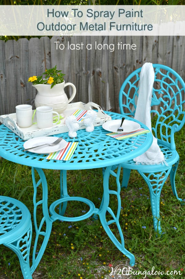 How to spray paint outdoor metal furniture to last a long time  Simple DIY  tutorial. How To Spray Paint Metal Outdoor Furniture To Last A Long Time