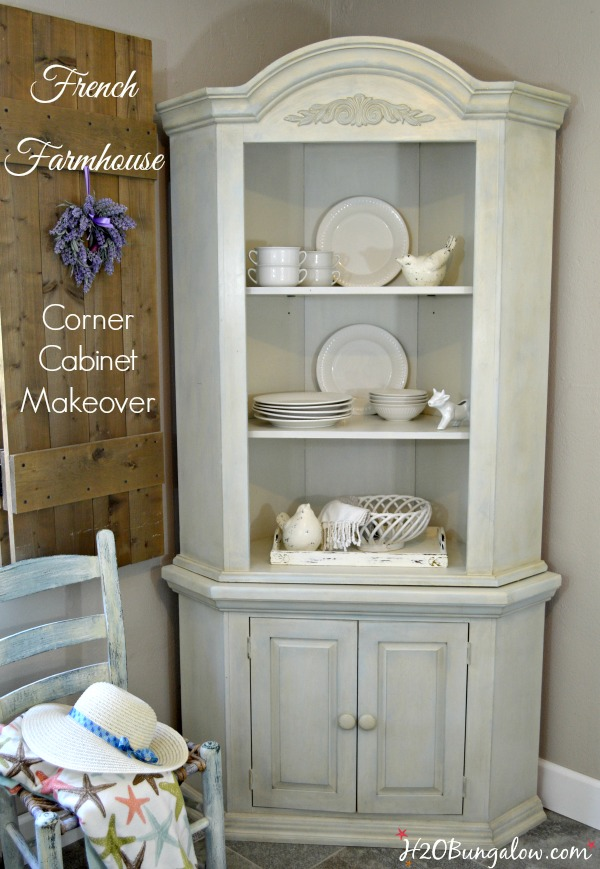 Farmhouse corner cabinet makeover h20bungalow for Amy howard paint kitchen cabinets