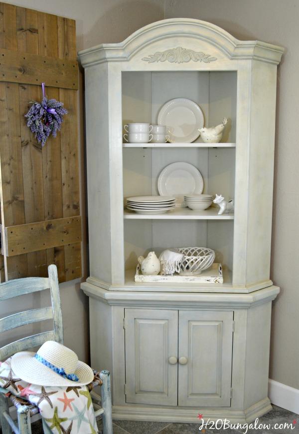 Farmhouse Corner Cabinet Makeover, Corner Cabinet Dining Room