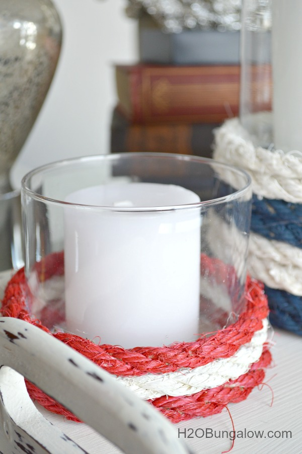 Upcycled nautical glass candleholders with painted rope and 9 more fantatstic DIY projects for Earth Day H2Obungalow.com