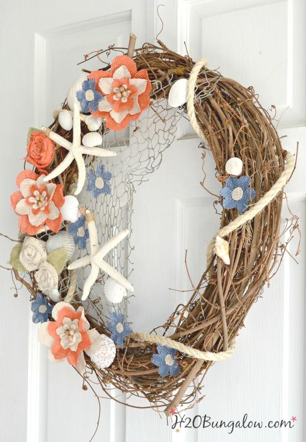 DIY Coastal Burlap Flower Wreath Tutorial - H20Bungalow
