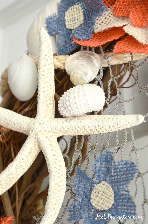 Why pay big bucks for burlap flowers? Make your own with this DIY Coastal burlap flower wreath tutorial. Easy DIy for an afternoon project. H2OBungalow.com