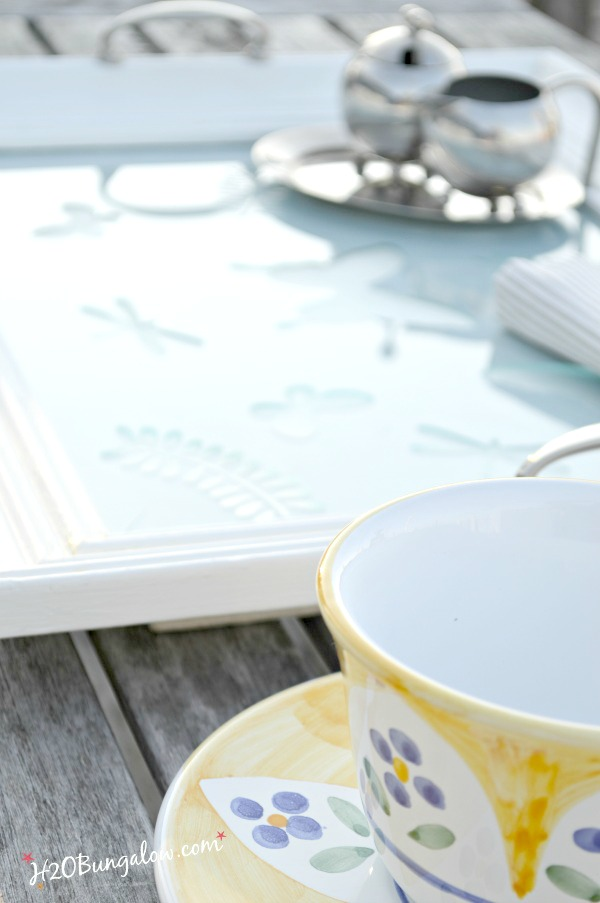 Etched glass with butterflies easy DIY picture frame serving tray tutorial. Make a pretty upcycled picture frame serving tray for your self or as a gift. Such a pretty spring project! H2OBungalow.com