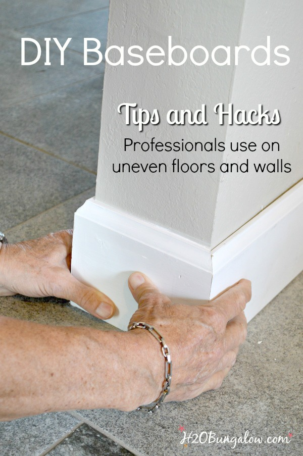 DIY baseboard tutorial with printable cheat sheet of cuts and terms. Shows how to install your own baseboards with tips and tricks the pros use. You can easily update your baseboards with this DIY tutorial. #h2Obungalow #diybaseboards #diybaseboardtips #diybaseboardtutorial