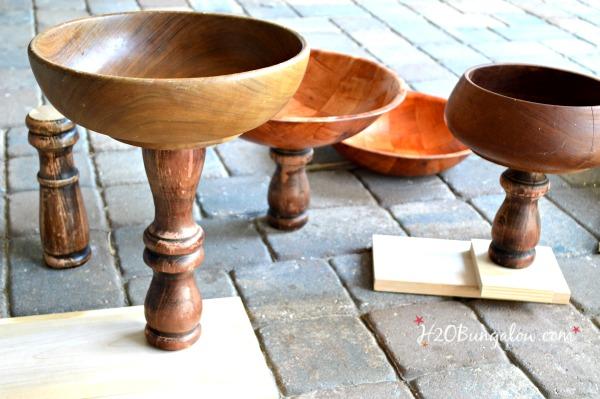 Fit wood bases on DIY pedestal bowls H2OBungalow