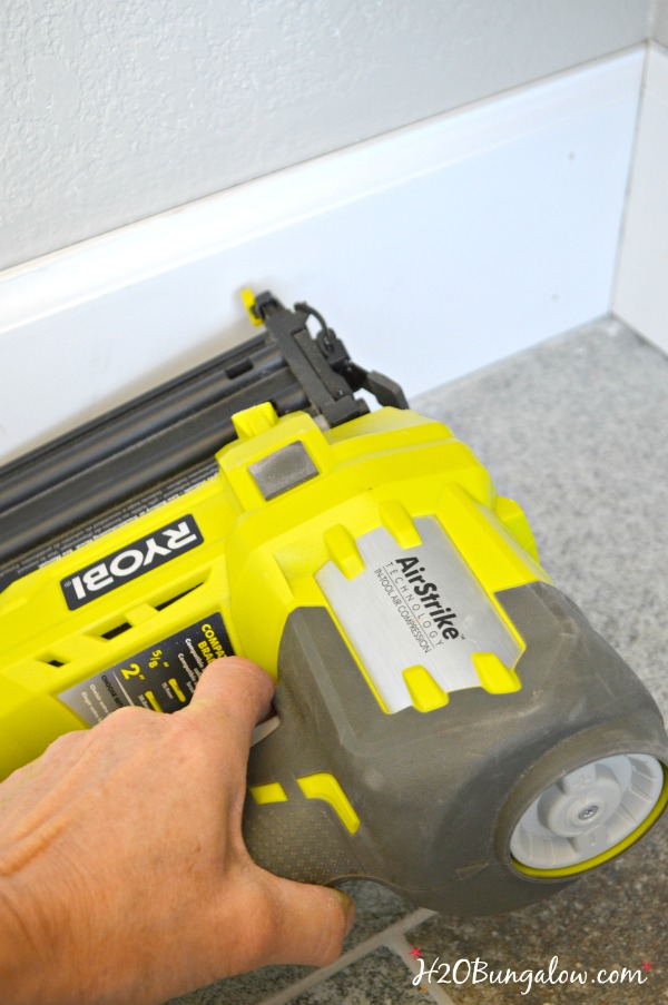 Ryobi brad nailer used to attach baseboards to wall
