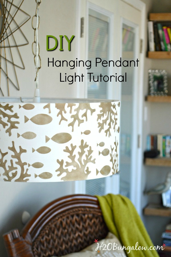Stenciled diy hanging pendant light h20bungalow tutorial to show how to make a simple stenciled diy hanging pendant light from a drum aloadofball Images