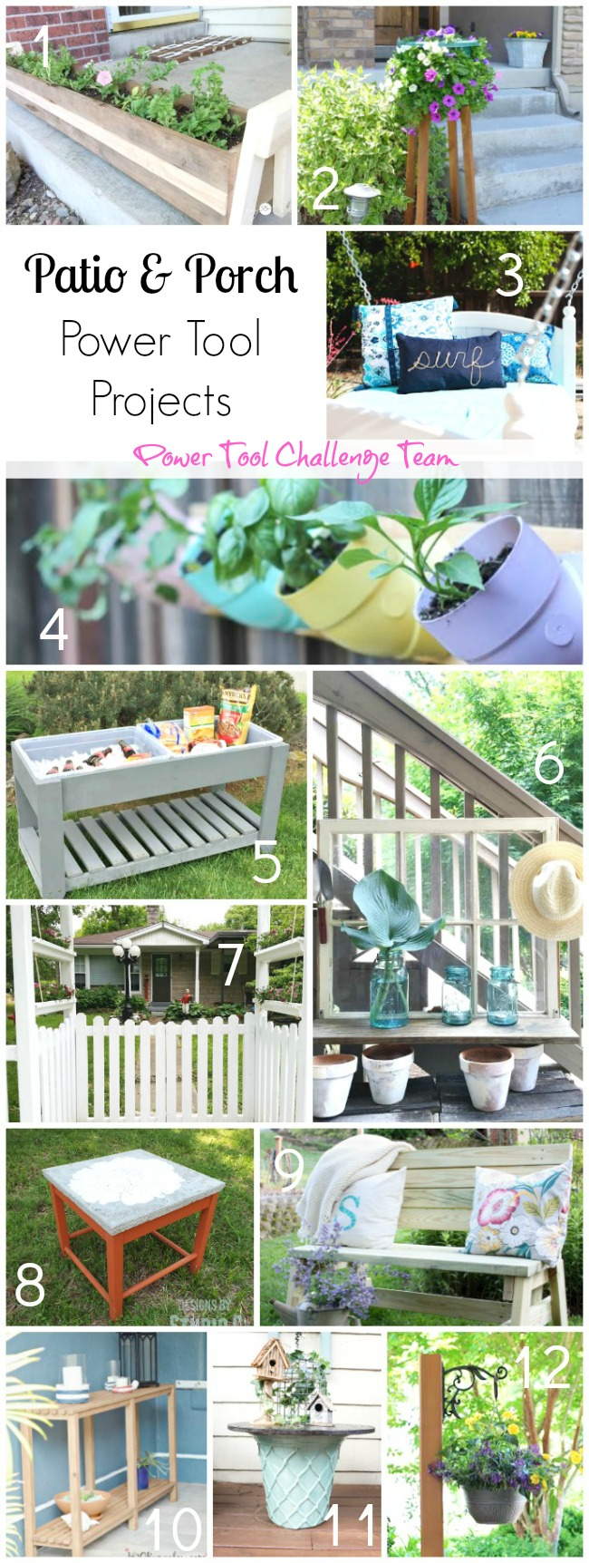 Patio and Porch Power Tool Projects from The Power Tool Challenge Team. Post links to all these fabulous projects and tutorials H2OBungalow
