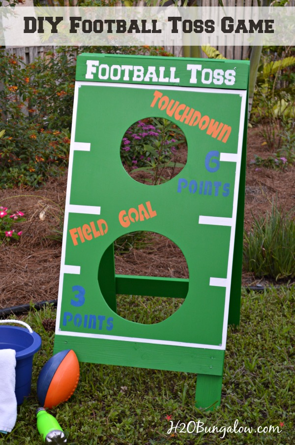 DIY football toss game tutorial. Great fun for a party or family holiday game. Make a bean bag toss, water balloon game, Fl Gators football toss or more. Get creative and have fun! H2OBungalow .