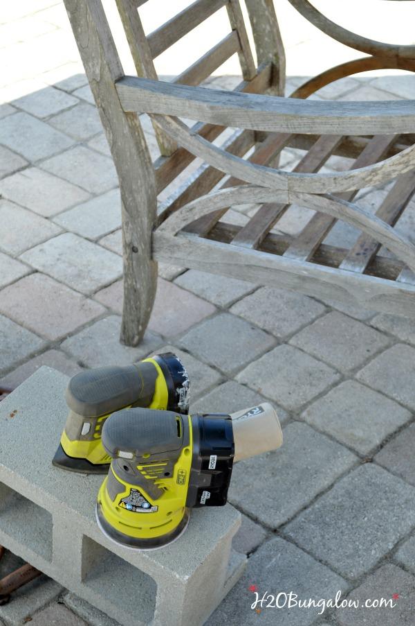 DIY-refinish-outdoor-teak-wood-furniture-sanding-H2OBungalow
