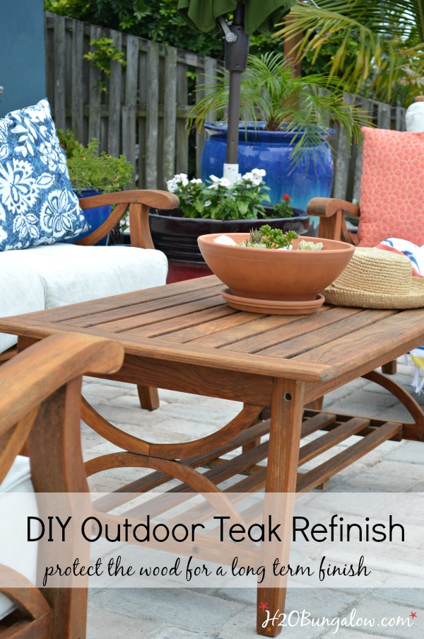 Save time and effort, easy tutorial to restore outdoor teak furniture with  tips and product - Restore Outdoor Teak Furniture Tutorial - H2OBungalow
