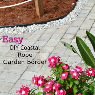 DIY coastal rope garden border fence tutorial. Works for any size area, make a rope fence short or tall. Simple one day DIY H2OBungalow