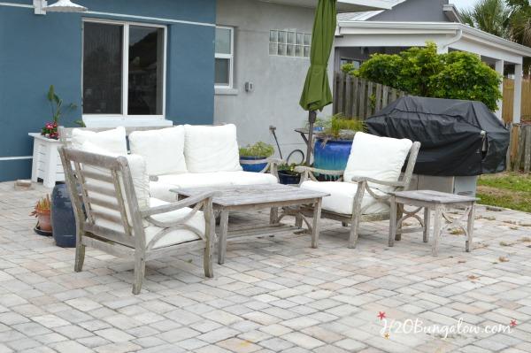 before-DIY-outdoor-teak-furniture-makeover-H2Obungalow