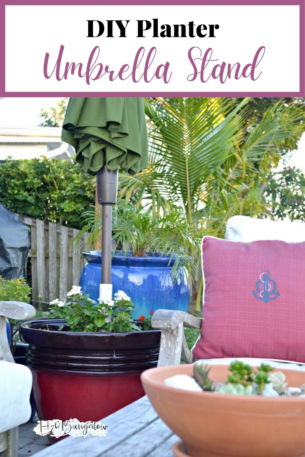 Umbrella plant stand on a patio with text overlay
