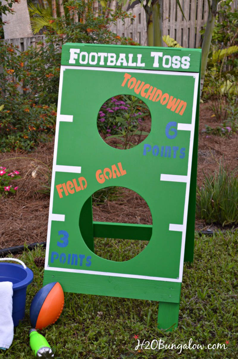 front view of DIY football toss game