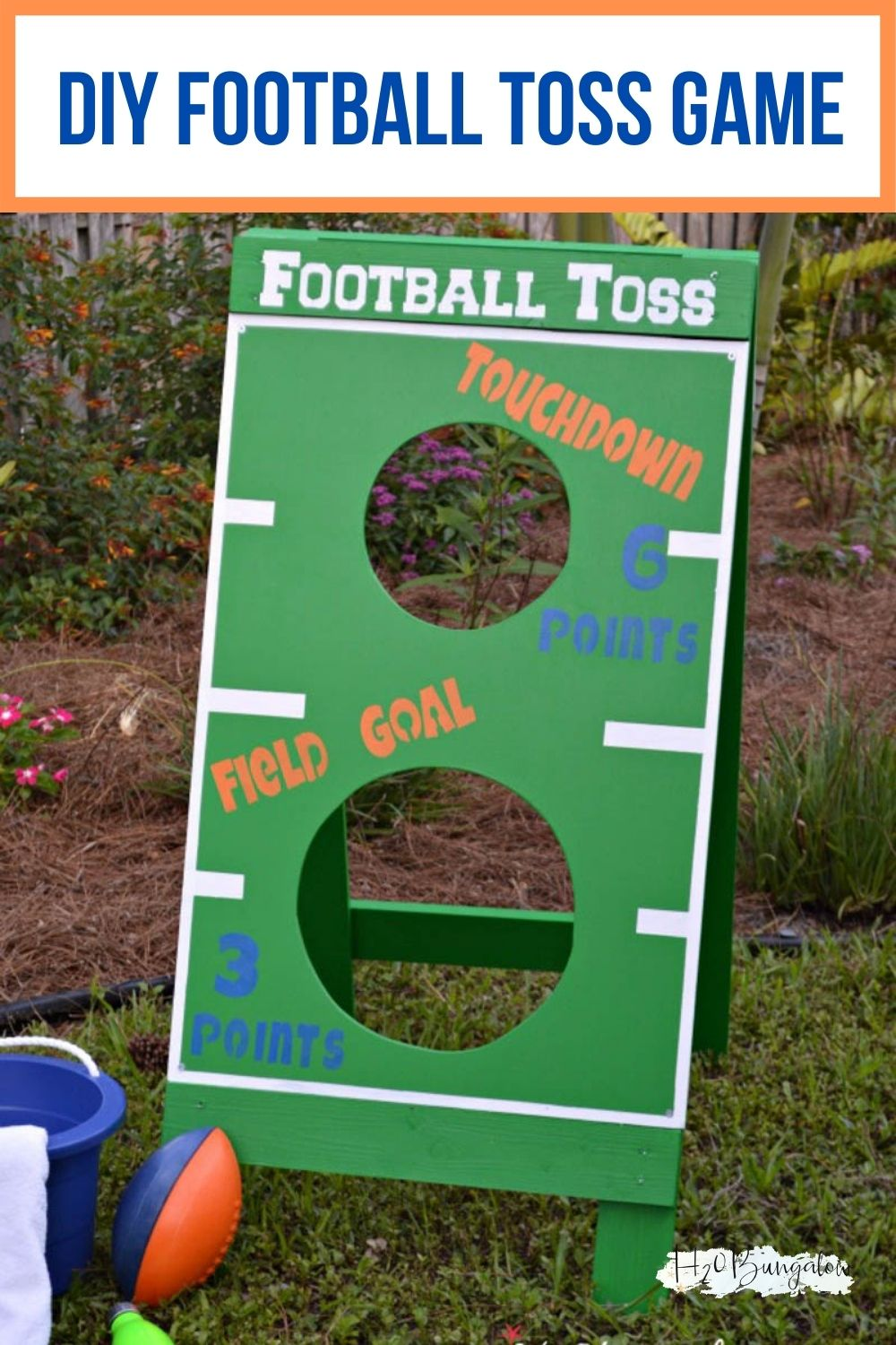 DIY football toss game with text overlay