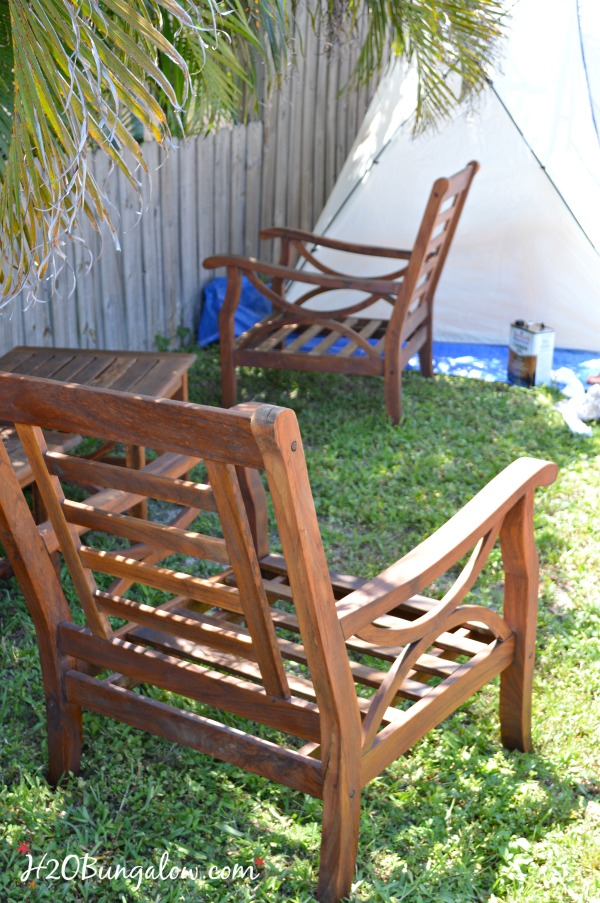 Outdoor DIY Teak Furniture Refinish H2OBungalow