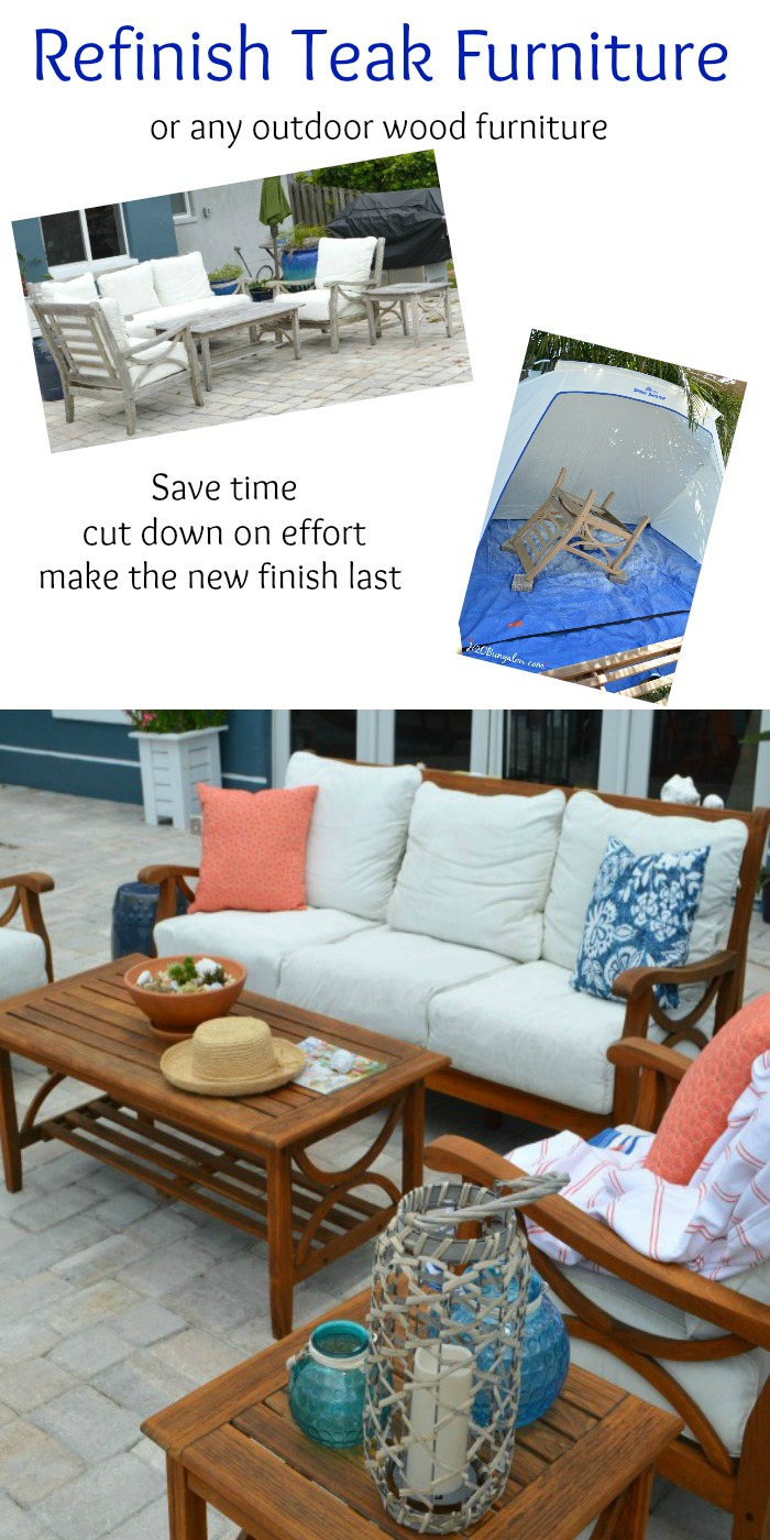 Save time and effort  easy tutorial to restore outdoor teak furniture with  tips and product. Restore Outdoor Teak Furniture Tutorial   H20Bungalow