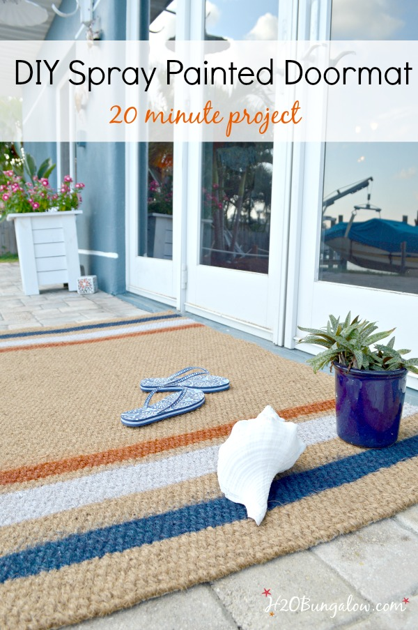 Easy tutorial and 20 minute project to make a DIY painted doormat. Brighten up an entry in 20 minutes start to finish and it's lots cheaper than buying one!
