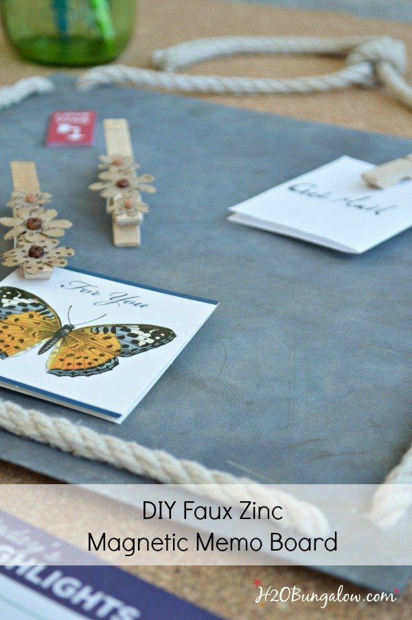 A DIY faux zinc magnetic memo board elevates the boring old memo board we know. Tons of uses for this creative and easy faux zinc finish tutorial.