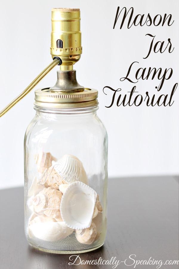 DIY seashell mason jar lamp