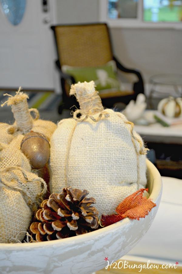 Easy step by step tutorial to make no sew fabric pumpkins.