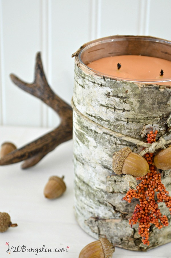 Birch bark candle holder with antlers and acorns laying on table