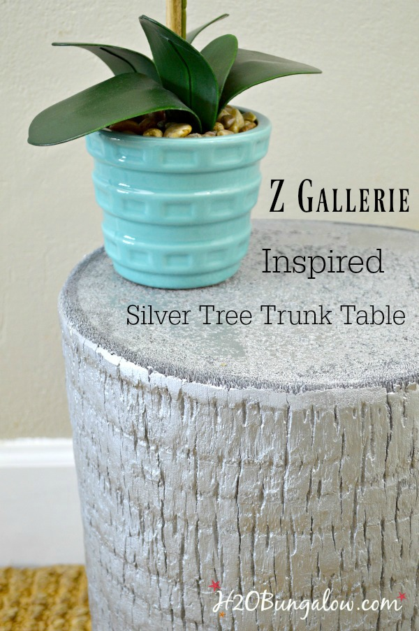 DIY tutorial for ZGallerie inspired silver tree trunk table H2OBungalow