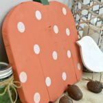 Orange with polka dots wood pumpkin with text Easy Wood Cutout Pumpkin