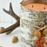 Easy DIY birch bark candle tutorial to make this upscale fall decor with a scented candle. Light it and fill your home with the warm scents of fall. Simple DIY steps with good resources to find birch bark. H2OBungalow