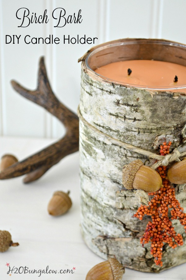 DIY birch bark covered candle tutorial. Make this upscale fall decor with a scented candle. Dress up plain candles for fall. I share where to find birch bark. #falldecor #birchbark #candles