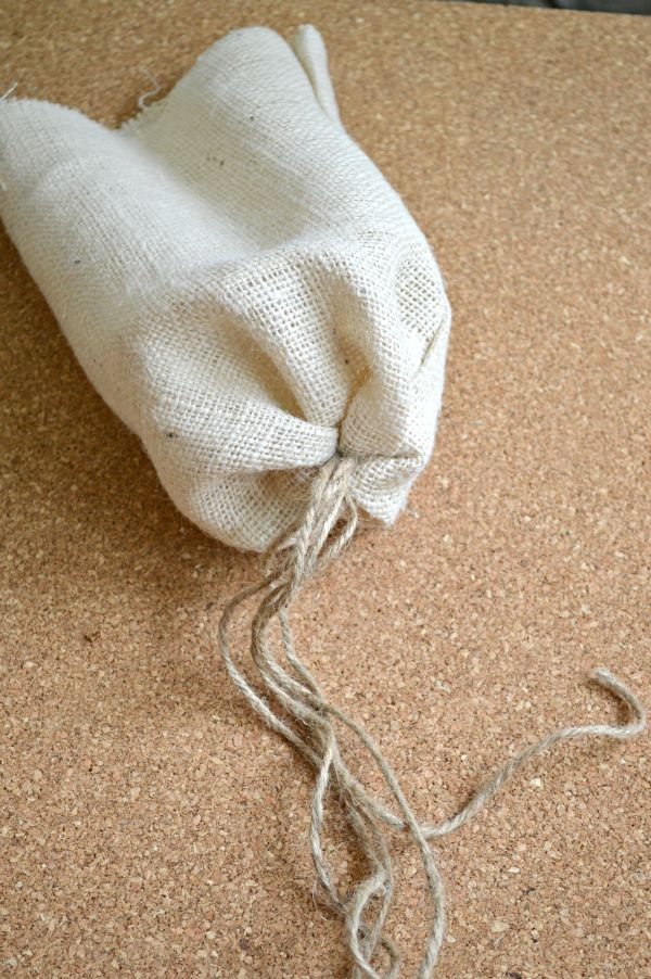 tied end of jute for fabric pumpkin