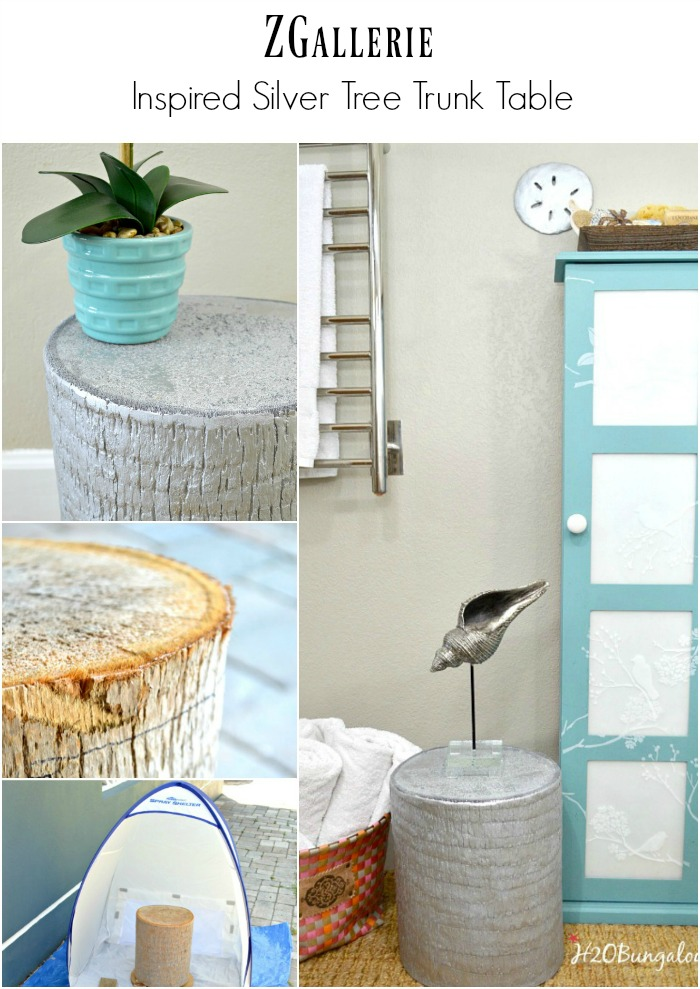 zgallerie inspired silver tree trunk table tutorial by h2obungalow