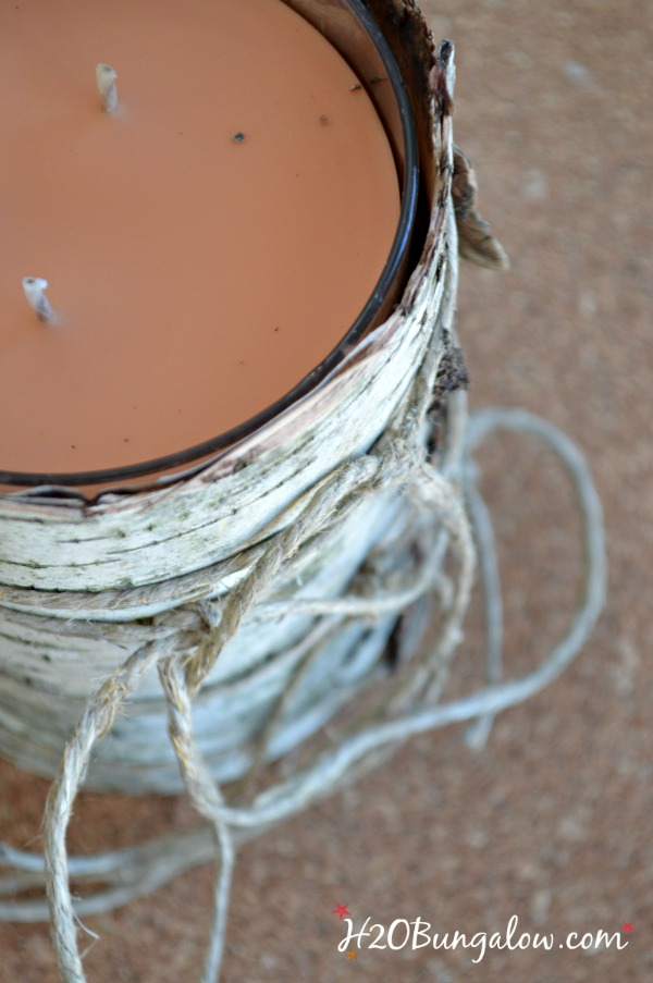 closeup of the top of the birch bark candle holder