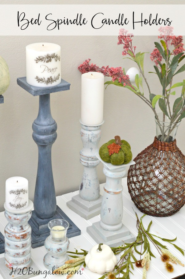 Easy to DIY, repurposed bed spindle candle holders tutorial. Make any size pillar candle holder great in vignettes, holiday centerpieces and more.