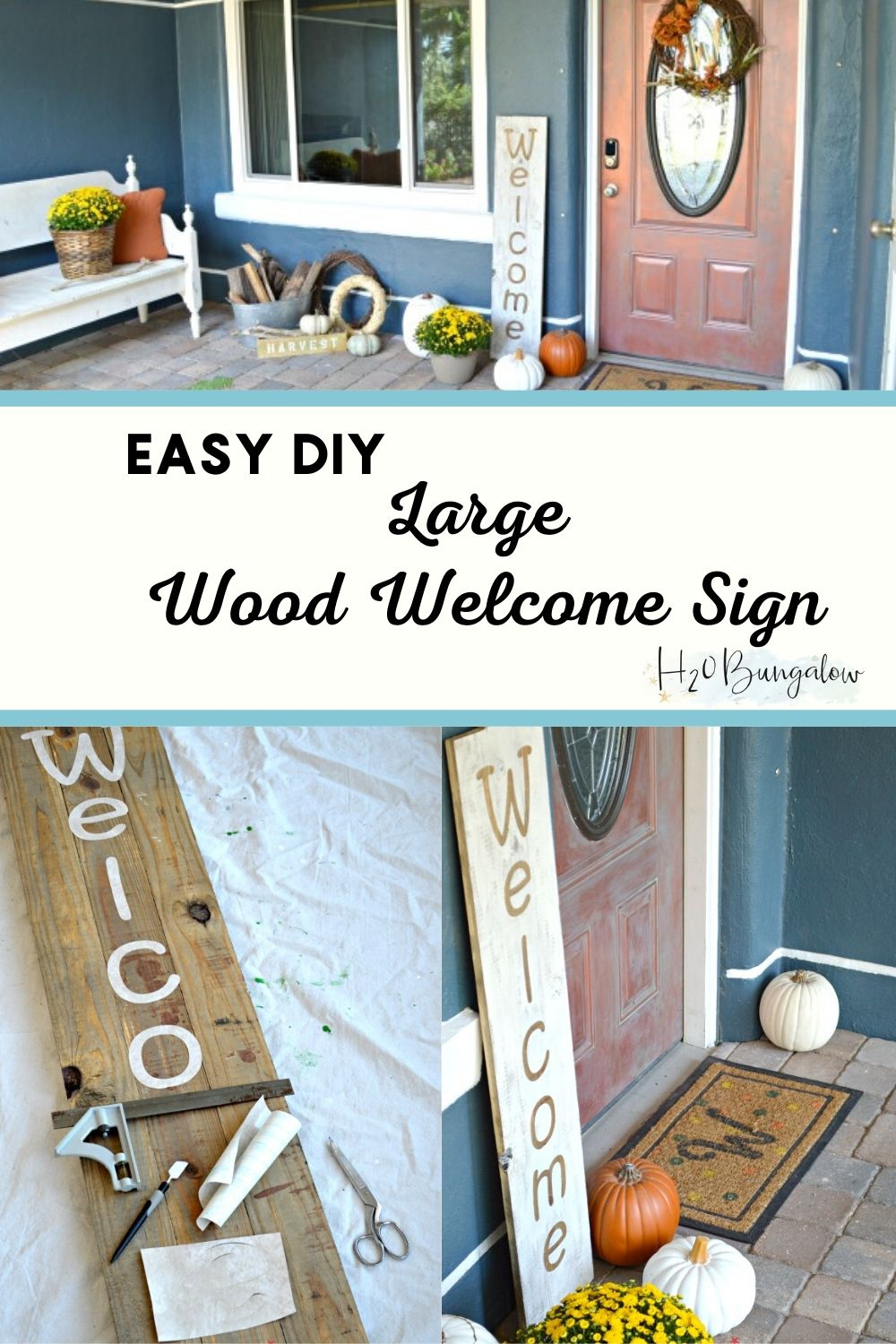 4 step tutorial to make an easy large DIY wood welcome sign. Looks great by the front door or inside in a seasonal vignette. Save money and make your own!