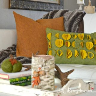Felted wool throw pillow tutorial to make envelope style pillow covers. Easy simple sew home decor project perfect for fall using textured felt fabric. H2OBungalow