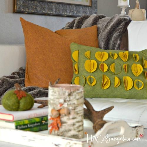 fall diy felted wool throw pillow tutorial - h20bungalow Diy Throw Pillow Covers