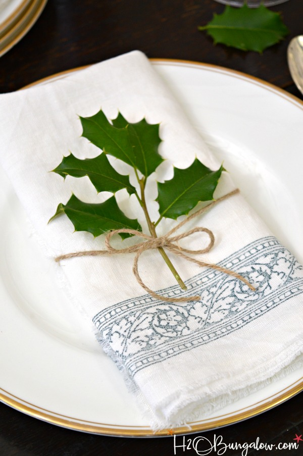 DIY Stamped No Sew Linen Napkins - H20Bungalow