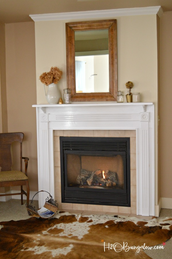 wood mirror over fireplace