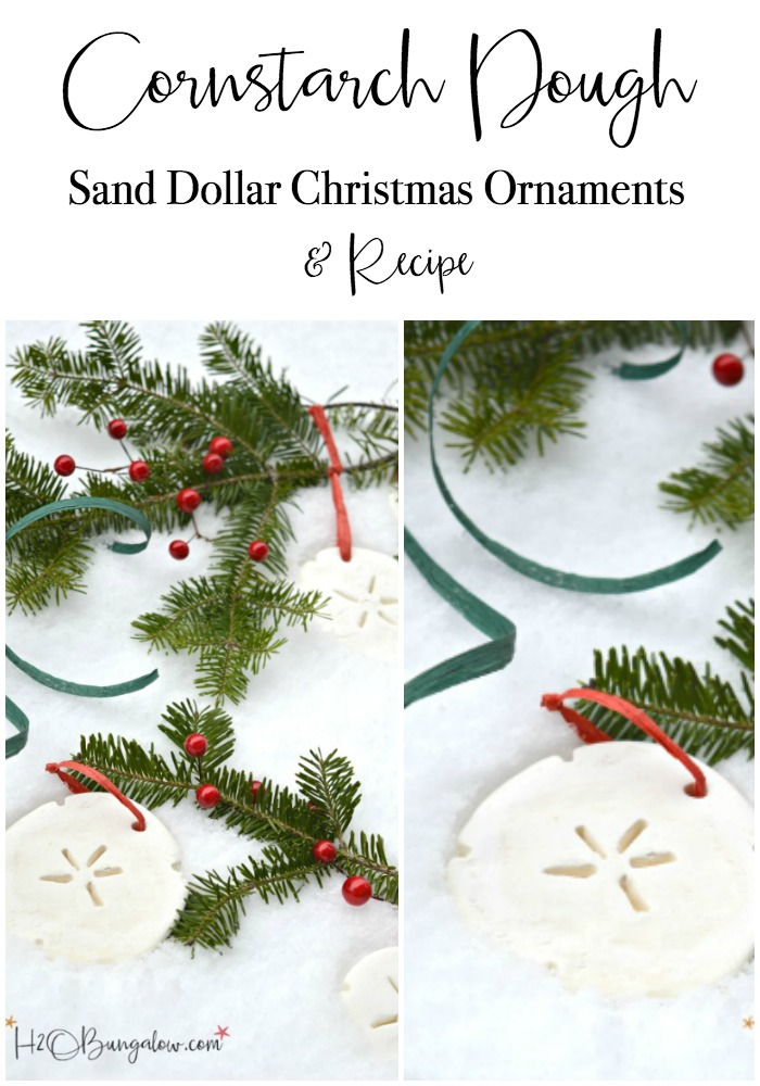 Tutorial for DIY Cornstarch dough Christmas ornaments and recipe. Easy to work with dough, sandable and not sticky, perfect for cookie cutters.